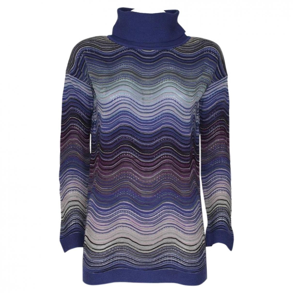 M Missoni - Pull   pour femme en laine - bleu