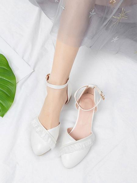 Milanoo Sweet Lolita Footwear Pink Ruffles Round Toe PU Leather Lolita Pumps