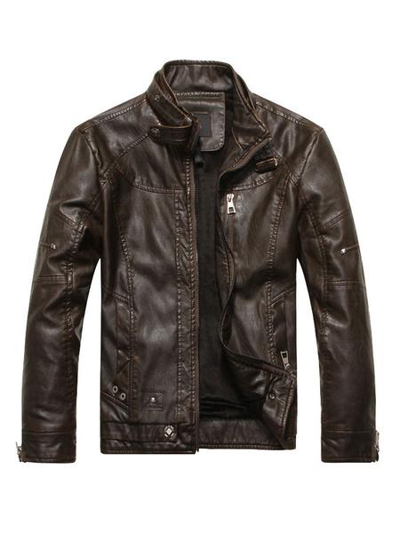 Milanoo Bombardero de la chaqueta de cuero para los hombres