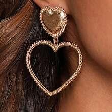 1pair Heart Drop Earrings