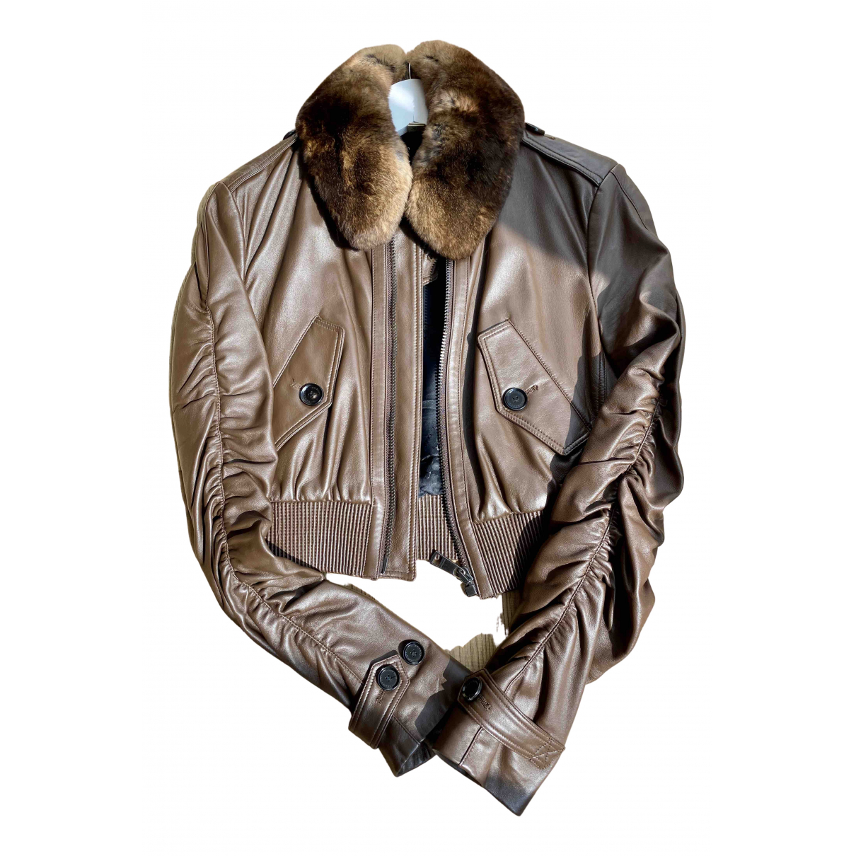Burberry \N Brown Leather Leather jacket for Women 6 US