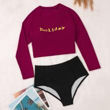 Bikini Badeanzug mit Buchstaben Grafik und hoher Taille
