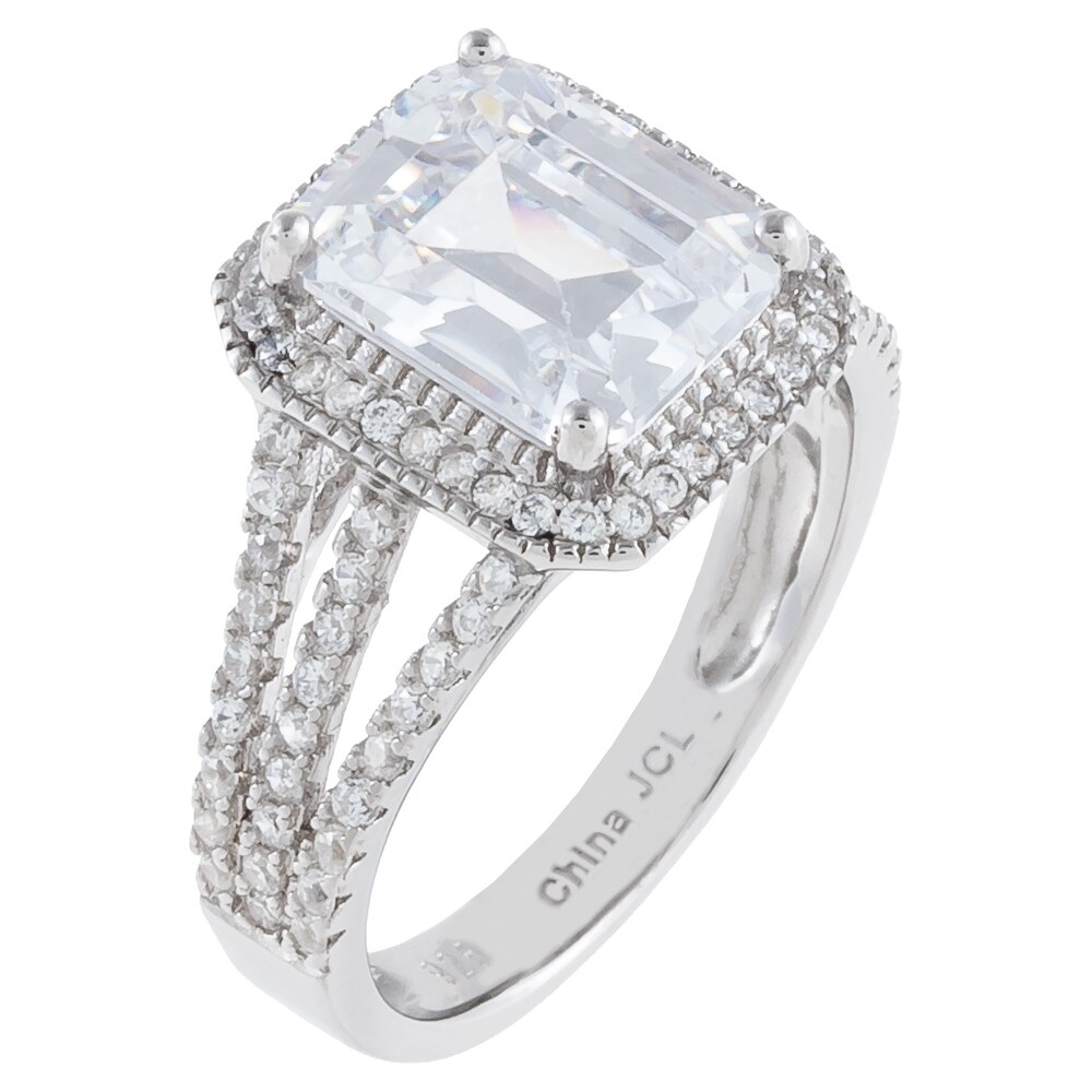 Emerald-Cut Halo-Set Cubic Zirconia Engagement Ring, Sterling Silver (8)