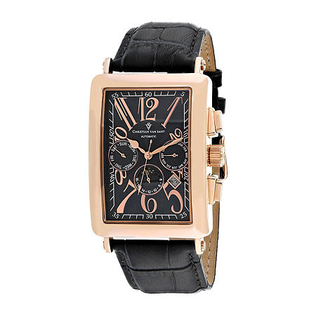 Christian Van Sant Mens Automatic Black Leather Strap Watch-Cv9141, One Size , No Color Family