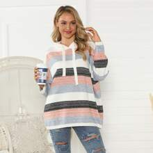 Colorblock Drawstring Hooded Oversized Sweater