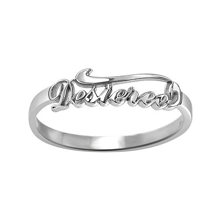 Personalized Script Name Ring, 7 1/2 , White