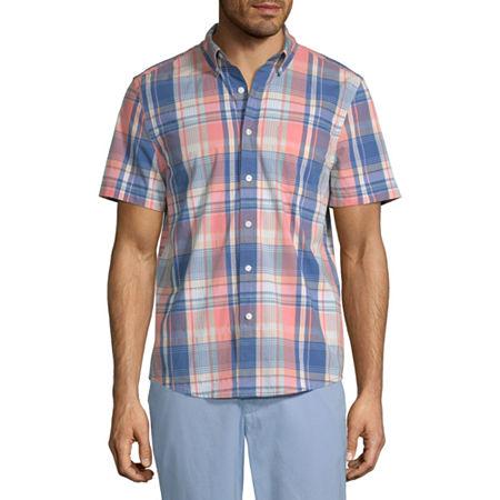 St. John's Bay Mens Short Sleeve Plaid Button-Down Shirt, Small , Orange