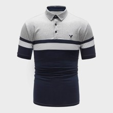 Men Contrast Panel Embroidered Polo Shirt