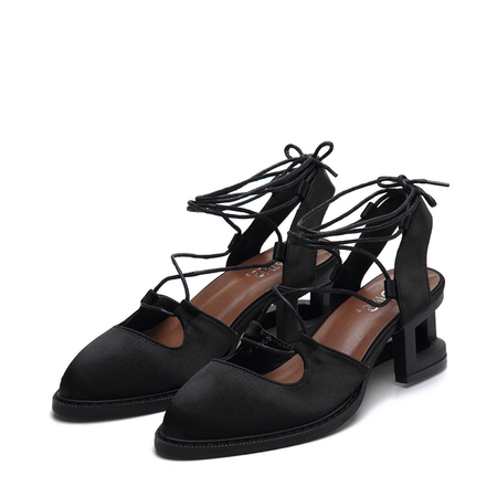 Yoins Black Satin Look Hollow Heel Pointed Toe Lace-up Slingback Shoes
