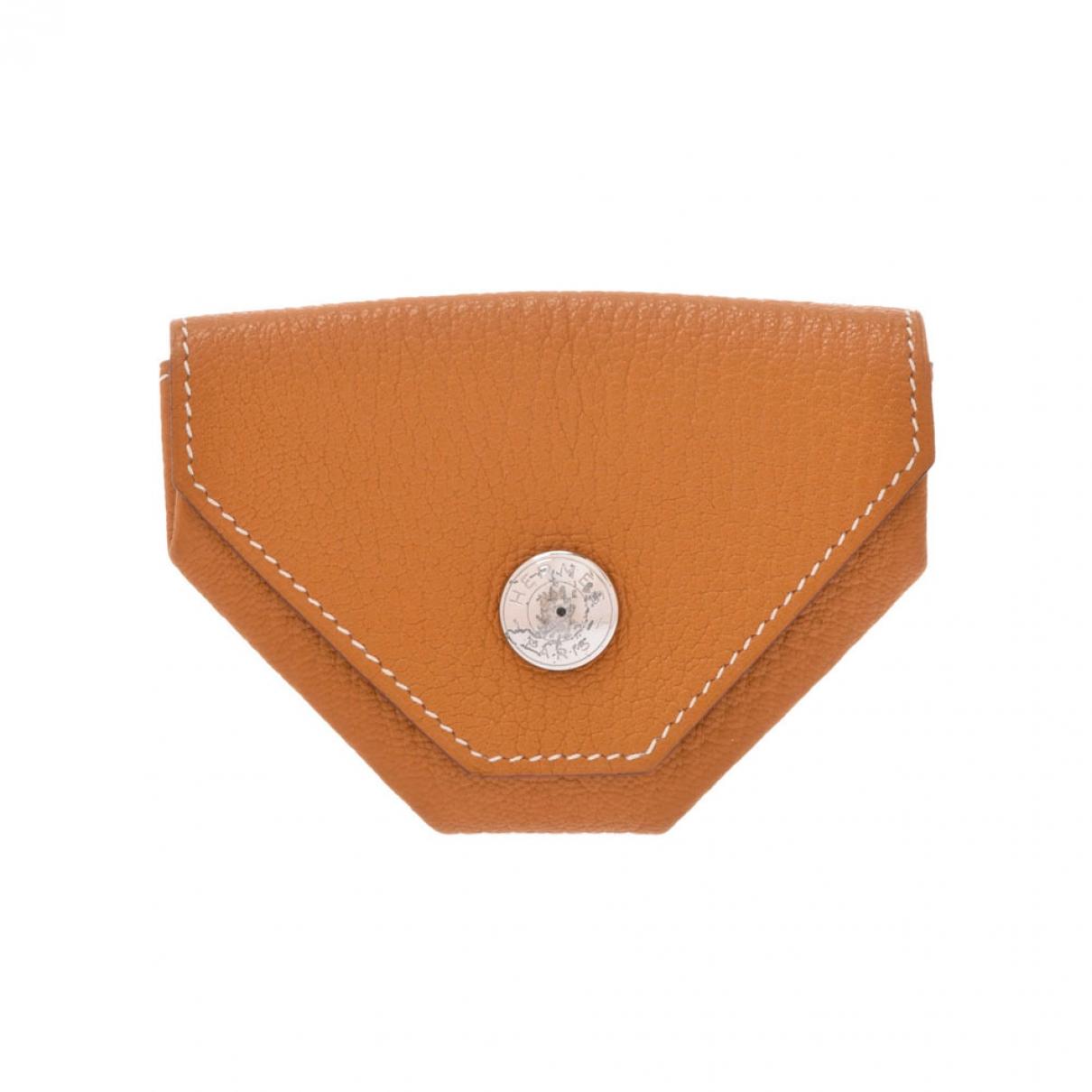 Hermes - Petite maroquinerie   pour femme en cuir - camel