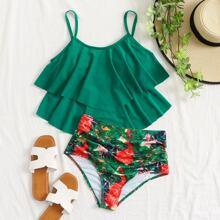 Bikini Badeanzug mit Wasserfarbe Muster und Ruesche