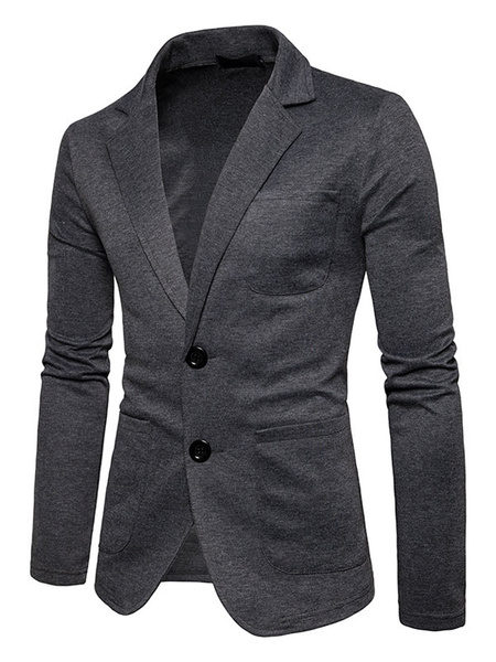 Milanoo White Casual Suit Blazer For Men Turndown Collar Long Sleeve Regular Fit Spring Jacket
