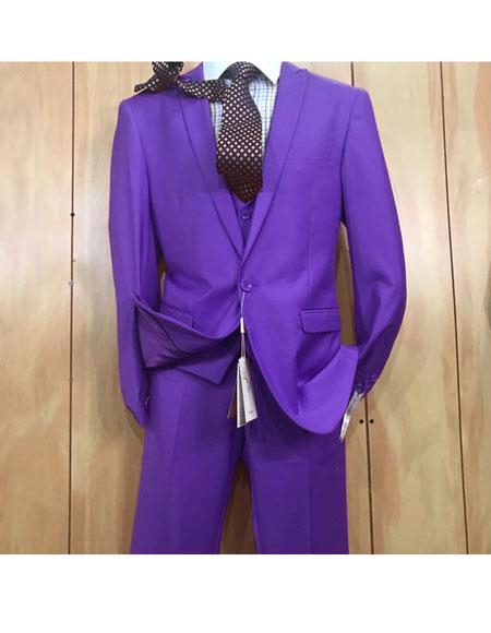 Mens Purple 1 button style Peak Lapel Vested Slim fitted Suit