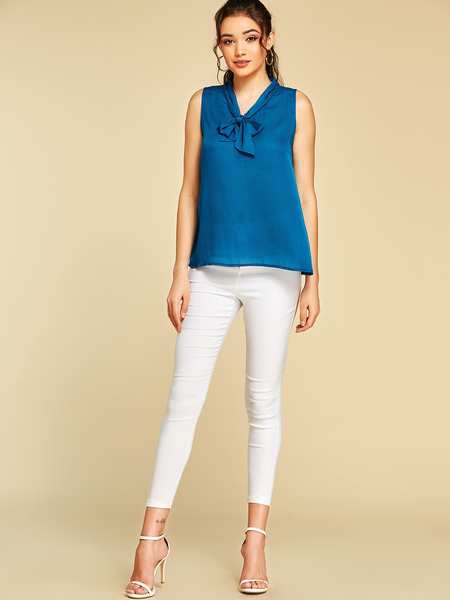 YOINS Blue Ribbon Knotted Design V-neck Sleeveless Blouse