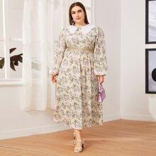 Kleid mit Kontrast, Peter Pan Kragen, Laternenaermeln, Taillenband und Blumen Muster