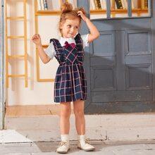 Toddler Girls Frill Neck Blouse & Ruffle Trim Plaid Overall Dress