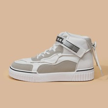 Tie Back Velcro Strap High Top Sneakers