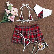 4pack Tartan School Girl Costume Set