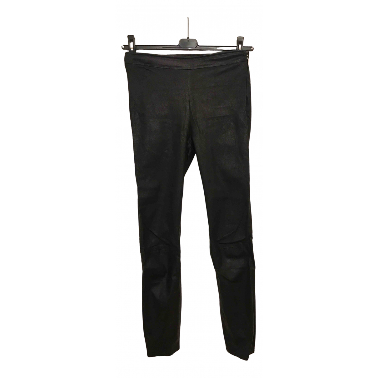 Massimo Dutti \N Black Leather Trousers for Women M International