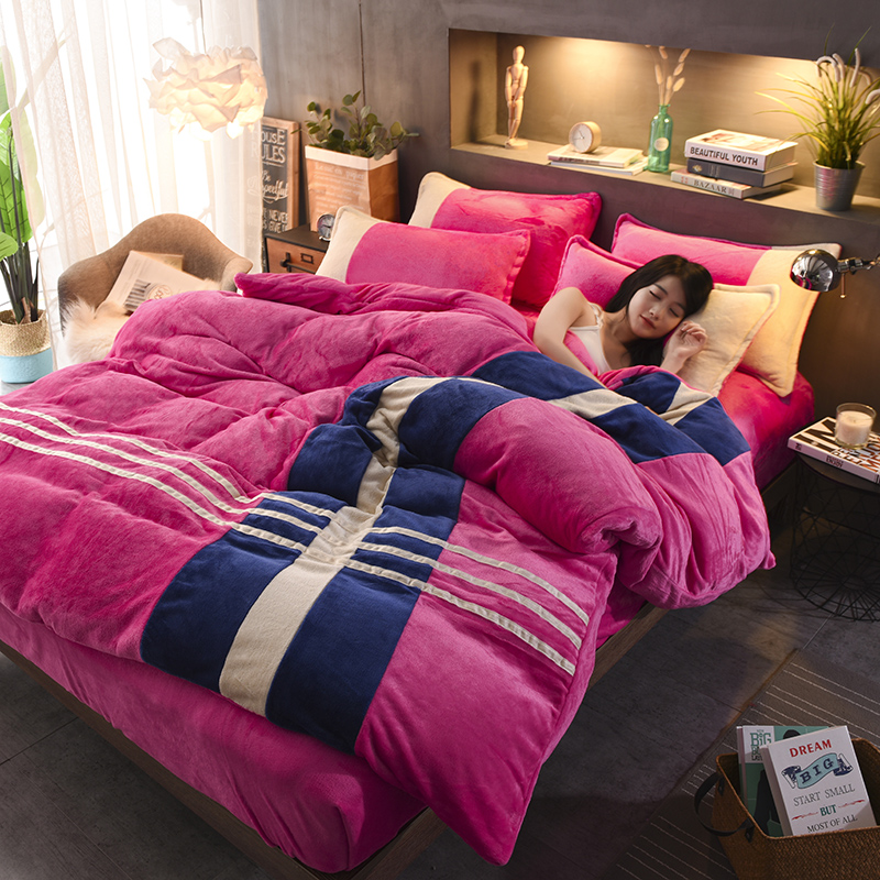 Simple Stripe Sport Style Coffee Coral Fleece 4-Piece Fluffy Bedding Sets/Duvet Cover