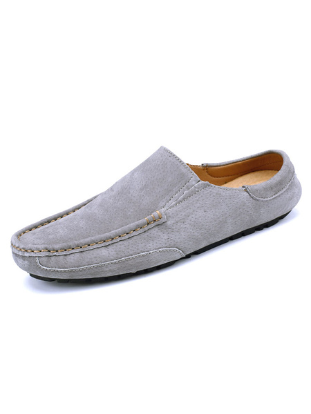 Milanoo Mens Sandals Slip-On Suede Leather Rubber Sole Solid Color Men\'s Slipper
