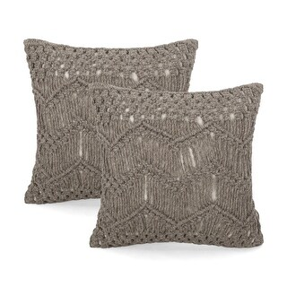 Beason Macrame Boho Throw Pillow by Christopher Knight Home (Set of 2 - 18.00