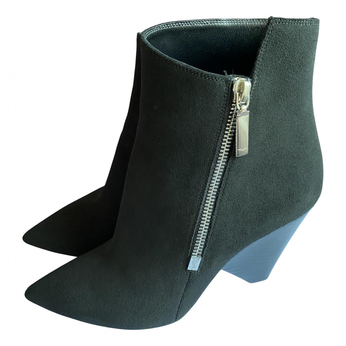 Saint Laurent Niki Black Suede Ankle boots for Women 37 EU