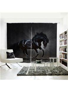 Vivid Horse Pattern 3D Printed Polyester Curtain