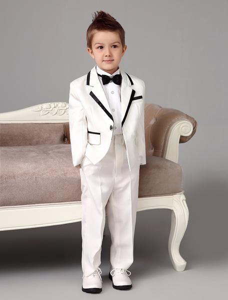 Milanoo Traje de niño de boda del portador del anillo  Chaqueta Pantalones Camisas Pajarita marfil Formal 4 Piezas