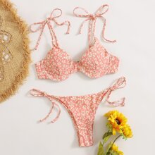 Ditsy Floral Underwire Thong Bikini Swimsuit