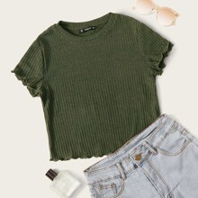 Lettuce Edge Rib-knit Crop Tee