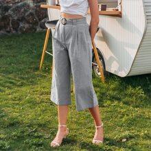 Buckle Belted Wide Leg Capri Pants