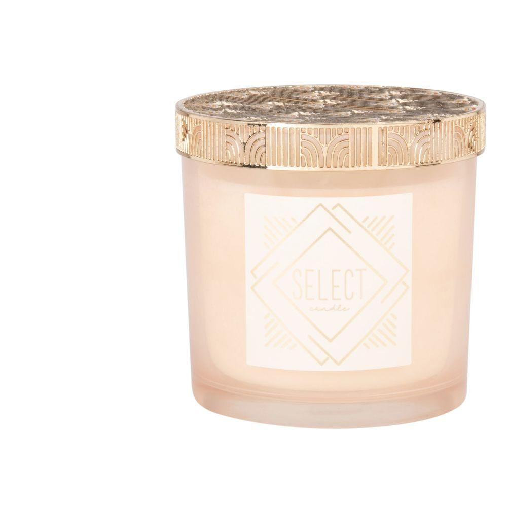 Duftkerze rosa im Glasbehaelter mit Metall, goldfarben