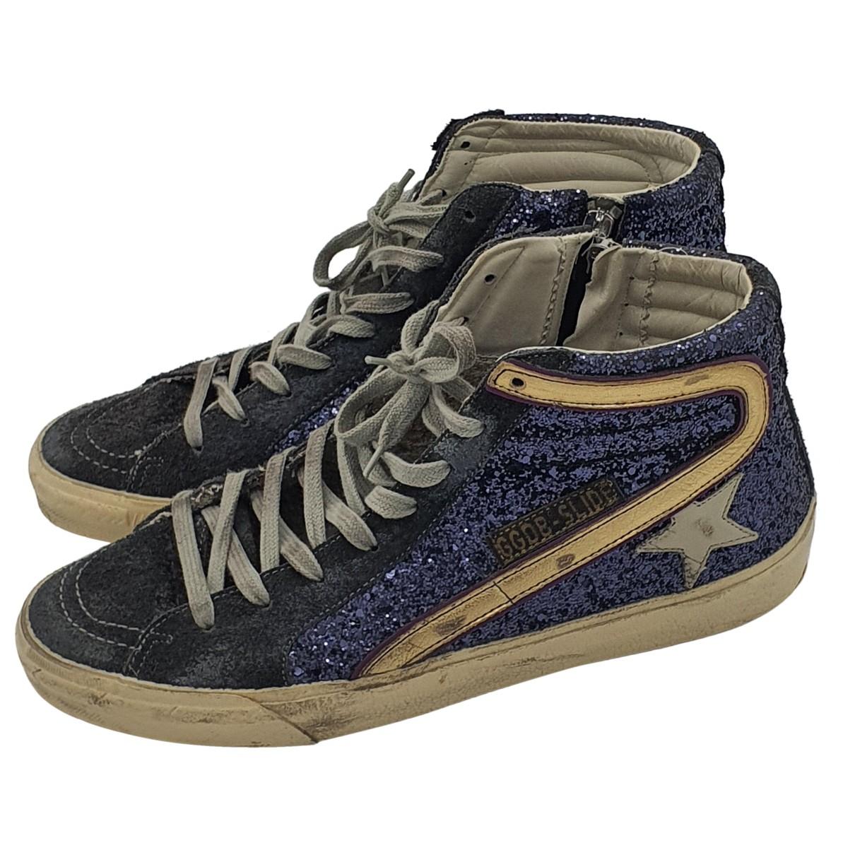 Golden Goose Slide Sneakers in  Blau Mit Pailletten