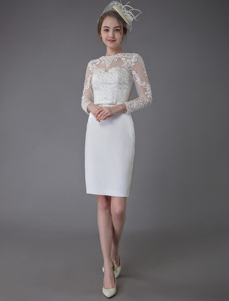 Milanoo Vintage Wedding Dresses Jewel Long Sleeve Sheath Short Bridal Dress