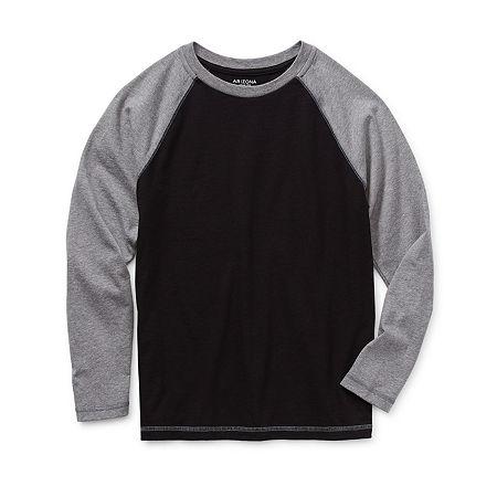 Arizona Little & Big Boys Long Sleeve T-Shirt, Medium (10-12) , Black