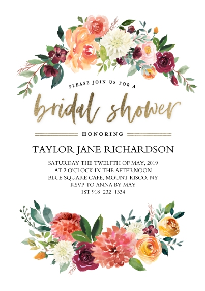 Wedding Shower Invitations 5x7 Cards, Premium Cardstock 120lb, Card & Stationery -Bridal Shower Flower Arches by Tumbalina