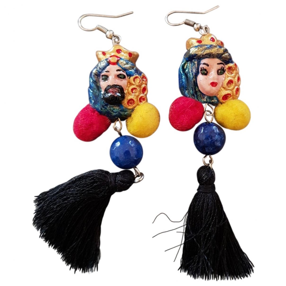 - Boucles doreilles Motifs Ethniques pour femme en ceramique - multicolore