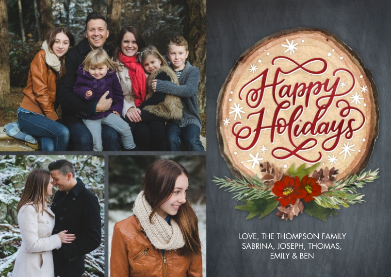 Holiday Photo Cards 5x7 Cards, Premium Cardstock 120lb with Rounded Corners, Card & Stationery -Holiday Floral Wood Plaque by Tumbalina