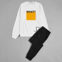 Men Letter Graphic Pullover & Drawstring Waist Sweatpants Set