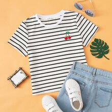Girls Cherry Embroidery Striped Top