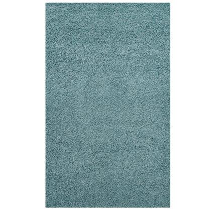 Enyssa Collection R-1145E-58 Solid 5x8 Shag Area Rug in Aqua Blue and Ivory