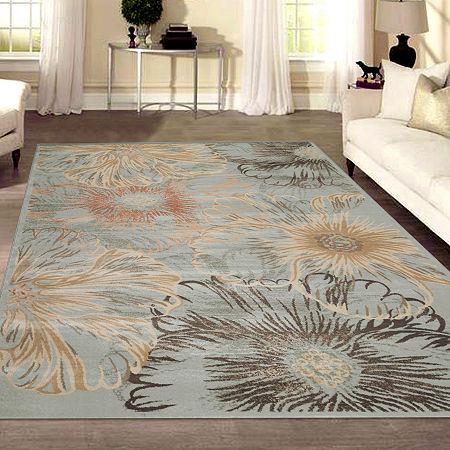 Garda Modern Abstract Floral Area Rug, One Size , Blue