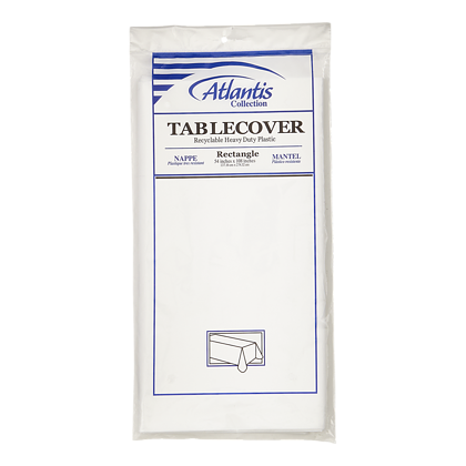 White Table Cover, 54 x 108 in (1 ea)