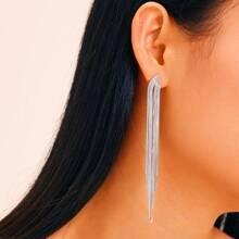 Metal Tassel Drop Earrings 1pair