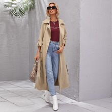 Double Button Belted Trench Coat