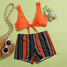Striped Shorts Bikini Swimsuit