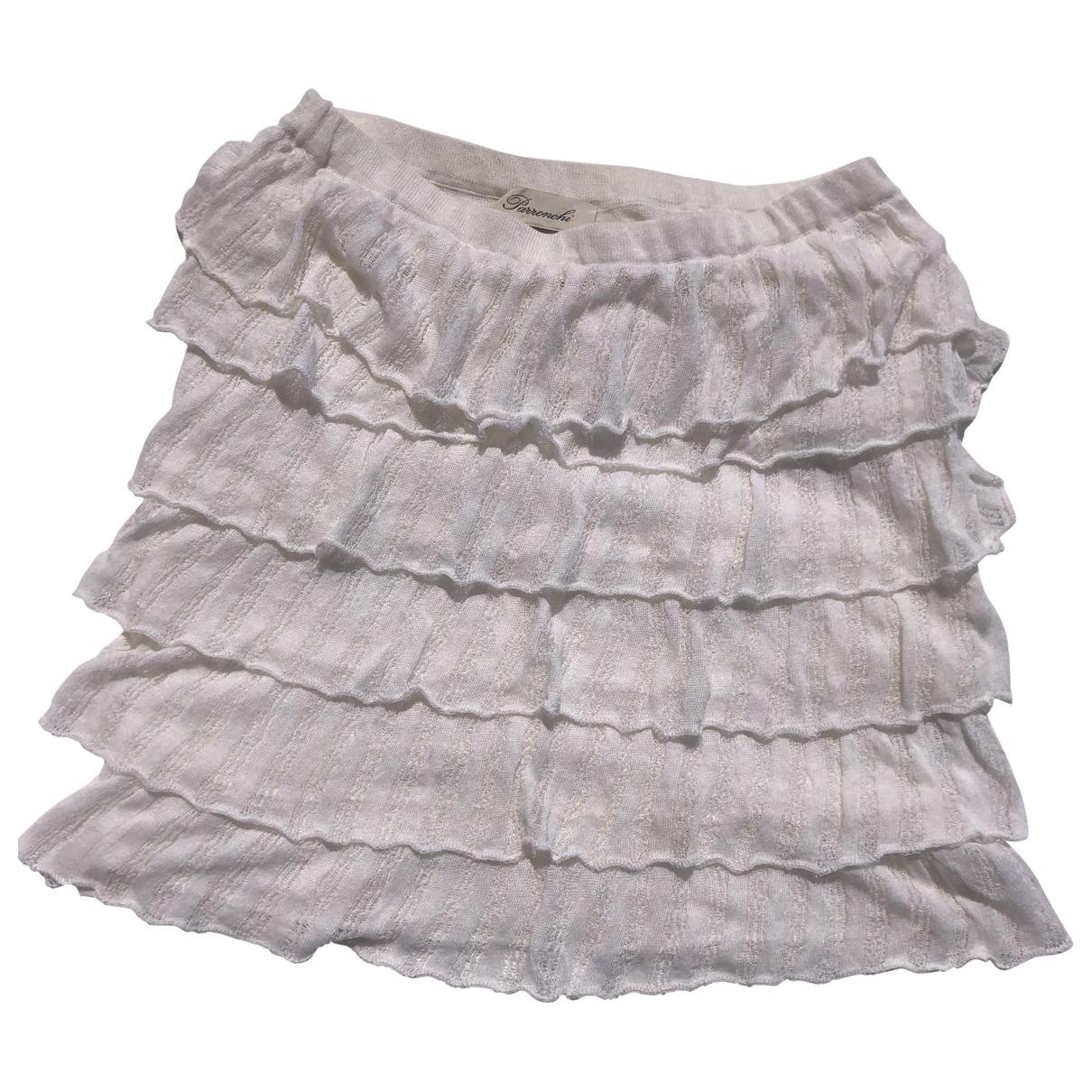 Non Signé / Unsigned \N White Linen skirt for Women 40 IT