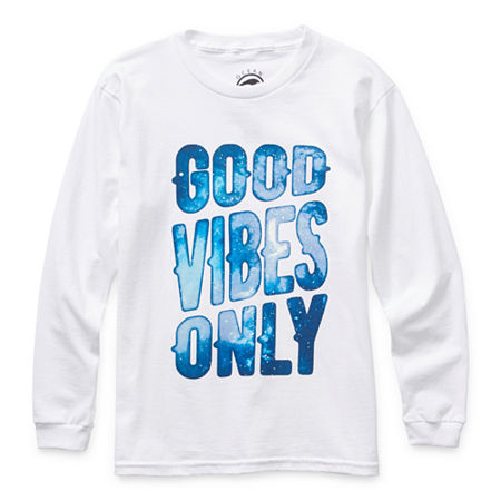 Ocean Current Little & Big Boys Crew Neck Long Sleeve Graphic T-Shirt, Small , White