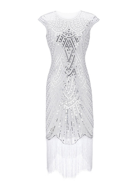 Milanoo 1920s Fashion Style Outfits Flapper Dress Fringe Sequin Gatsby Costume Dress Women's Vintage 20s Party Dress